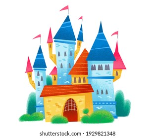 Cartoon fairytale castle. Funny bright style. Children's cute illustration. The image is isolated on a white background.