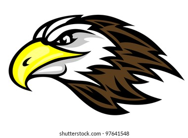 Cartoon falcon head for mascot or tattoo design, such  a logo. Vector version also available in gallery