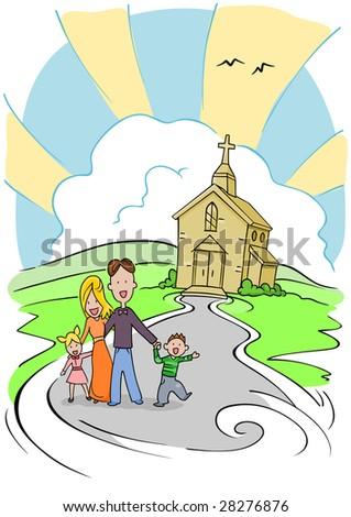 Cartoon Family Four Church Background Stock Illustration Royalty