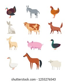 Cartoon farm animals and birds set isolated. Sheep, goat, cow, donkey, horse, pig, duck, goose, rooster and rabbit