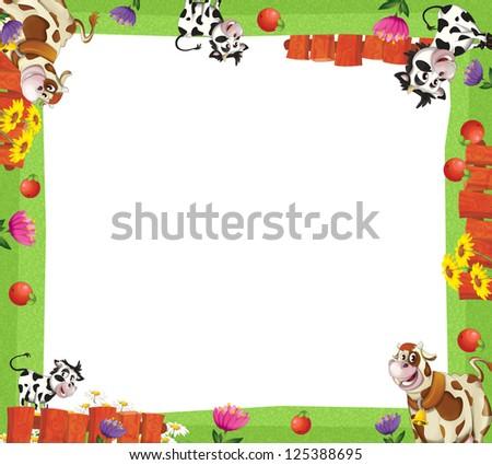 Cartoon Farm Frame Illustration Children Stock Illustration ...