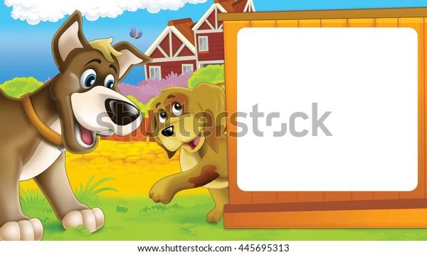 Cartoon Farm Scene Different Animals Friendly Stock