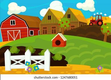 Cartoon farm scene - for different usage - illustration for children