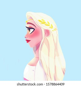Cartoon Fashion beautiful girl portrait with blond hair princess style
