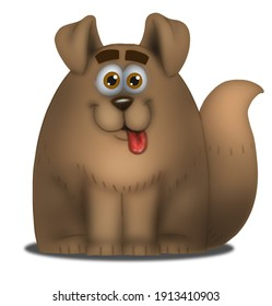 Cartoon fat dog illustration drawing