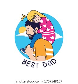 cartoon father and son with a beautiful blue sky background