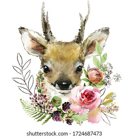 cartoon fawn. forest animal illustration. cute watercolor deer poster