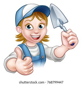 A cartoon female builder or bricklayer construction worker holding a masons brick laying trowel hand tool