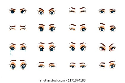 Cartoon female eyes. Illustration. Colored  closeup eyes. Female woman eyes and brows image collection set. Emotions eyes. Illustration