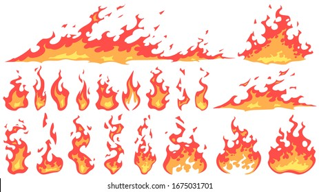 Cartoon fire flames. Fireball flame, red hot fire and campfire fiery silhouettes  set. Burning effect, dangerous natural phenomenon. Blazing wildfire, bonfires isolated on white background