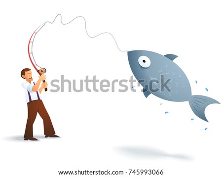 Royalty Free Stock Illustration Of Cartoon Fisherman Catching Big