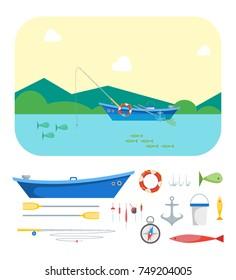 Cartoon Fishing Boat on Landscape Background and Gear Set Flat Design Style. illustration