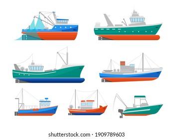 Cartoon Fishing Boats Icons Set Ship or Vessel Marine Transport Elements Concept Flat Design Style. illustration of Boat