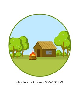 Cartoon flat illustration - wooden rustic house of boards, logs and timber on a green field of natural landscape. bonfire near the forest of trees in the summer. the village suburb.