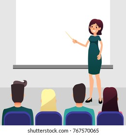Cartoon flat women with pointer trains participants of the seminar. Female speaker doing presentation and professional training. Coach talks about new direction in company strategy