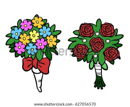 Cartoon Flower Bouquets Wedding Valentine Day Stock Illustration