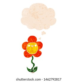 cartoon flower with thought bubble in grunge distressed retro textured style