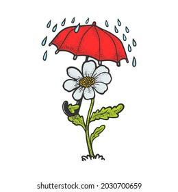 Cartoon flower with umbrella color sketch engraving raster illustration. T-shirt apparel print design. Scratch board imitation. Black and white hand drawn image.
