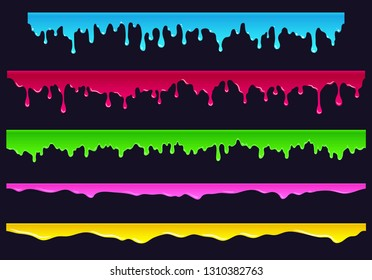 Cartoon flowing down paint, slime, sludge. Hand drawn elements for the endless bars, borders, etc., isolated illustration
