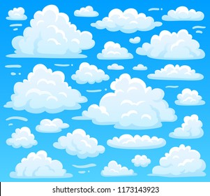 Cartoon fluffy cloud at azure skyscape. Heavenly clouds on blue sky, atmospheric cloudscape vintage 2d  illustration