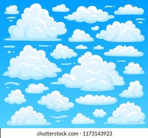 Cartoon fluffy cloud at azure skyscape. Heavenly clouds on blue sky, atmospheric cloudscape vintage 2d  illustration