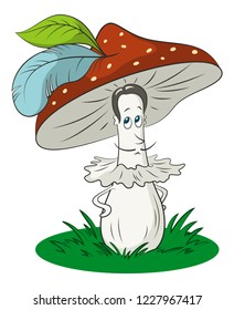 Cartoon Fly-Agaric Mushroom Man on Green Grass, Hat with a Bird Feathers, a Character Symbolizing the Ancient Mustache Gallant Fashion Knight Man.