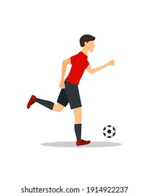 Cartoon Football Player Training and Practicing Soccer Sport. illustration of Footballer Running with Game Ball