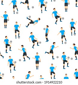 Cartoon Football Players Seamless Pattern Background on a White Playing, Kicking, Training and Practicing Soccer Sport. illustration of Footballer and Game Ball