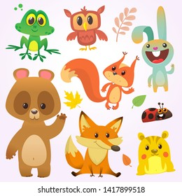 Cartoon forest animal characters illustration. Bunny rabbit, owl, frog, squirrel, chipmunk, fox and bear