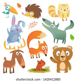 Cartoon forest animals big set. Flat design. Squirrel, hedgehog, hamster, wolf, fox, toucan bird, bear, deer