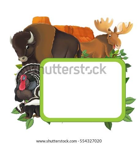 Cartoon Frame Animals Moose Buffalo Turkey Stock Illustration ...
