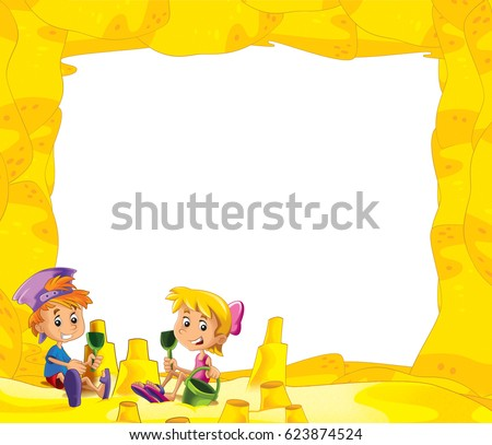 Cartoon Frame Children On Beach Playing Stock Illustration 623874524 ...