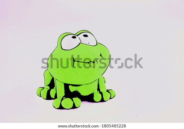 Cartoon frog with big eyes isolated