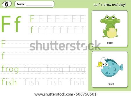 Cartoon Frog Fish Alphabet Tracing Worksheet Stock Illustration ...