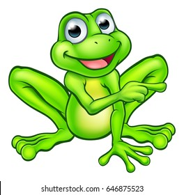 A cartoon frog mascot character pointing with his finger