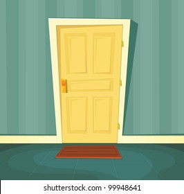 Cartoon Front Door/ Illustration of a cartoon front door inside house interior scene