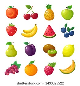 Cartoon fruits and berries. Melon pear mandarin watermelon apple orange isolated set. Peach and cherry, pineapple and apple, watermelon and banana, blueberry and lemon illustration