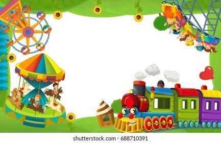 cartoon funfair locomotive - playground - frame for misc usage - illustration for children
