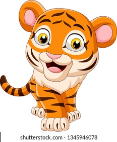 Cartoon funny baby tiger