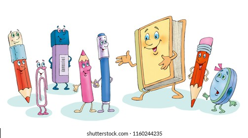 Cartoon funny book, pencils, pens and other stationery