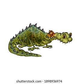 cartoon funny crocodile. Illustration on white background