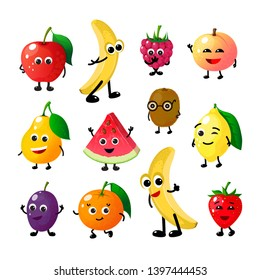 Cartoon funny fruits. Happy apple banana raspberry peach pear watermelon lemon strawberry faces. Summer fruit berry  characters