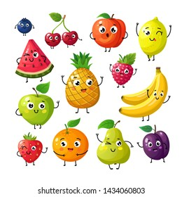 Cartoon funny fruits. Happy kiwi banana raspberry orange cherry with face. Summer fruit and berry characters isolated on white. Fruit kiwi and banana, orange and strawberry illustration