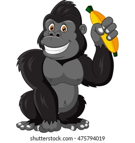 Cartoon funny gorilla holding banana
