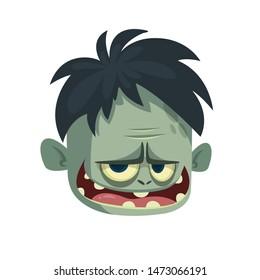 Cartoon funny green zombie character. Halloween character illustration of zombie head avatar