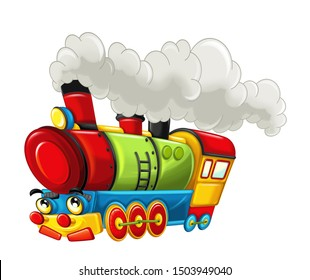 Cartoon funny looking steam train - isolated on white background - illustration for children