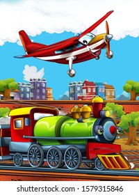 Cartoon funny looking steam train on the train station near the city and flying fireman plane - illustration for children