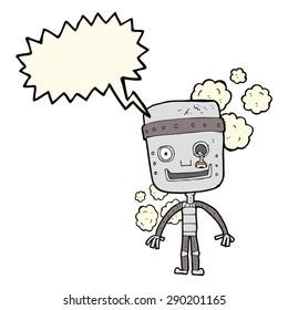 cartoon funny robot with speech bubble