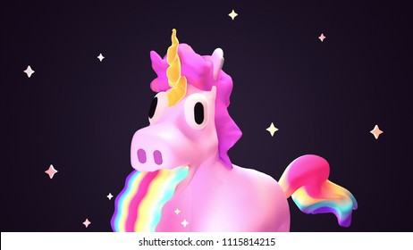 Cartoon funny unicorn puking rainbow on dark background. 3d rendering picture.