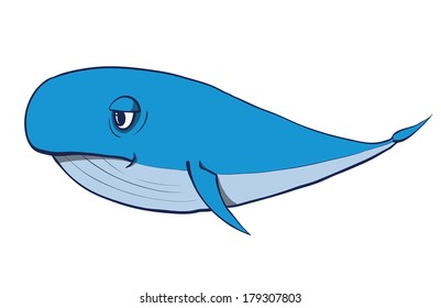 Cartoon funny whale.  Hand drawn illustration. Rasterized copy .Vector version of this image can also be found in portfolio.